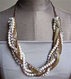 Chunky Statement Necklace Mixed Metal Vintage Wedding Rhinestone Pearl Gold Necklace - Twisted SIsta. $125.00, via Etsy.