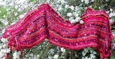 Knitted wedding shawl reds summer wrap long wide by SpinningStreak, $280.00