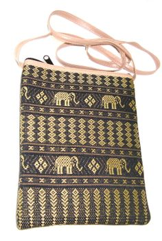 Handbag Handmade Wallet Purse Thai Artificial Green Gold Silk Thai Elephant Pattern for Banks Passportbook Tablets Phones with 2 Zips with Strap Crossbody Bag
