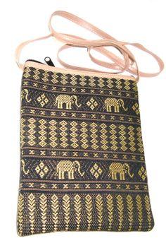 Handbag Handmade Wallet Purse Thai Artificial Green Gold Silk Thai Elephant Pattern for Banks Passportbook Tablets Phones with 2 Zips with Strap Crossbody Bag