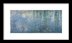 """Waterlilies Morning With Weeping Willows Framed Print 96""""x43"""" $1094"""