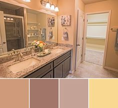 Check out this gorgeous double vanity master bathroom that offers plenty of storage space and a walk-in closet. Create a stylish, contemporary look in your WestWind Homes bathroom by incorporating your favorite color palette and soft lighting around the mirrors.