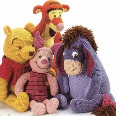 $3.42 Vintage Crochet Pattern Winnie the Pooh Tigger Piglet and Eeyore Amigurumi Soft Toy Retro
