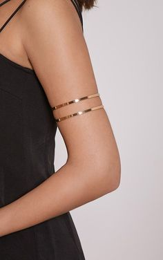 Gold Cut Out Upper Arm Cuff Work effortlessly sleek style vibes by adding this simplistic arm cu...