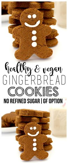 Vegan Gingerbread Cookies (No Refined Sugar Gluten-Free Option) These adorable Vegan Gingerbread Cookies are sooo delicious and festive! They are vegan, gluten-free, and contain no refined sugar, making them the perfect little holiday treat! Healthy Vegan Dessert, Cake Vegan, Vegan Dessert Recipes, Vegan Treats, Whole Food Recipes, Vegan Food, Vegetarian Desserts, Biscuits Végétaliens, Cookies Et Biscuits