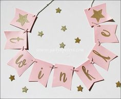 Decorate your Twinkle Twinkle Little Star theme birthday or baby shower with a gold glitter party banner! Hang at your dessert table, on the walls or use as a sweet photo prop at your special celebrat