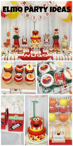 Here are some terrific Elmo birthday party ideas! Love the Elmo birthday cake and cake pops! See more party ideas at CatchMyParty.com. #sesamestreet
