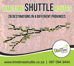 LimeTime Shuttle has daily shuttles to 28 different destinations in 4 provinces such as Mpumalanga, Gauteng, North West and Free State. To book your next trip, visit our website or contact us on 087 094 9444. #limetimeshuttle #dailyshuttles