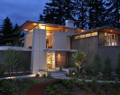 Modern Houses Look So Much Better At Night With Good Lighting In House Facade stunning modern home facade design ideas Home design Modern Exterior, Exterior Design, Garage Design, House Design, Roof Design, Exterior Siding, Wood Siding, Facade House, House Facades