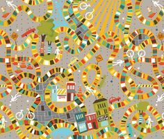 """""""Take the detour route"""" yarn-inspired fabric by cynthiafrenette, via Spoonflower. Yarn covered bikes ridden by yarn bombers, art, painted walls, cobblestone bricks, yarn bombed pylons and trees!"""