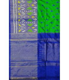 Green Pure Handloom Ikkat Silk Saree
