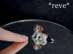 OOAK Handmade Miniature Beagle Puppy Dog Sculpture by ReveMiniatures.deviantart.com on @deviantART