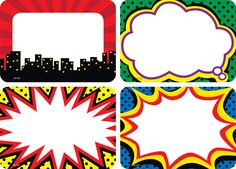 These comic book-style, superhero-themed name tags are ideal for parent-teacher conferences, back-to-school events, field trips, classroom labels and more! Pack includes 36 self-adhesive name tags in 4 designs; each name tag measures 2 x 3 Superhero Name Tags, Superhero Classroom Theme, Superhero Birthday Party, Classroom Themes, Classroom Walls, Classroom Name Tags, Superhero Template, Superhero Teacher, Classroom Teacher