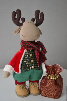 Christmas Moose, Christmas Gift For You, Rena, Personalized Christmas Ornaments, Xmas Decorations, Handmade Toys, Doll Patterns, Fabric Dolls, Sewing Crafts