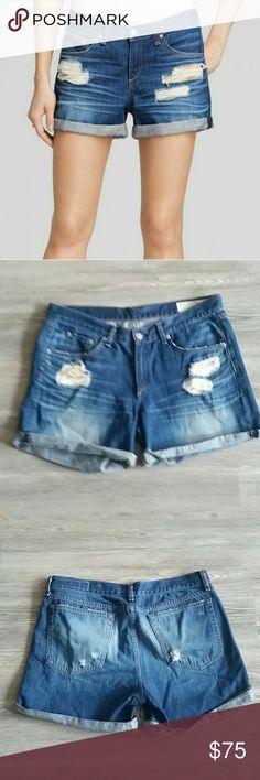 """Rag & Bone destroyed denim shorts Rag & Bone destroyed denim shorts. Waist 17"""" layed flat rag & bone Shorts Jean Shorts"""