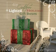 Top Ten DIY Holiday Decorations - DIY Christmas Decor Lighted Gift Boxes