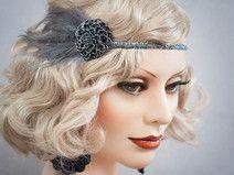 Federn Haarband 20er Headpiece Haarschmuck Grau