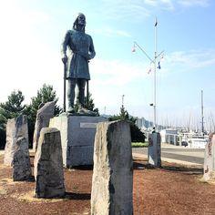 Shilshole Bay Marina in Seattle, WA Leif Erikson statue