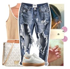 """11:16 pm :: listening to music"" by theyknowtyy ❤ liked on Polyvore featuring WithChic, Color Club, Michael Kors and Puma"