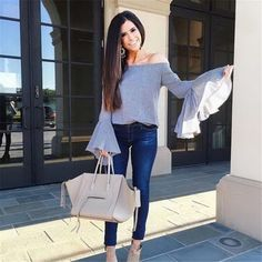 """THE SWEETEST THING / Emily ( """"Wore the cutest gingham, off the shoulder, bell sleeved top from today! Spring Fashion, Girl Fashion, Autumn Fashion, Fashion Outfits, Jeans Fashion, Fashion Ideas, Fashion Inspiration, Bell Sleeves, Bell Sleeve Top"""