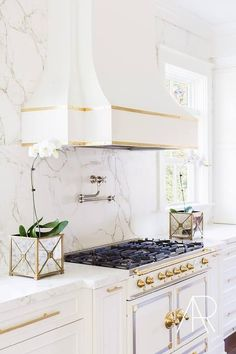 White and Gold French Kitchen Hood with White and Gold French Stove