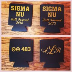 Alternative to cooler painting for frat formal. His and hers coozies :) Sigma Nu - theta theta chapter