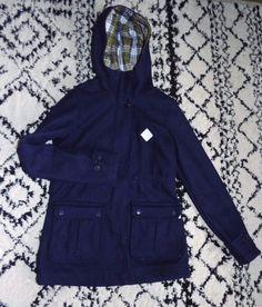 !!Burton Snowboard Kindling Navy Blue Wool Coat Plaid Insulated orginally $130! #Burton #InsulatedCoat #Outdoor