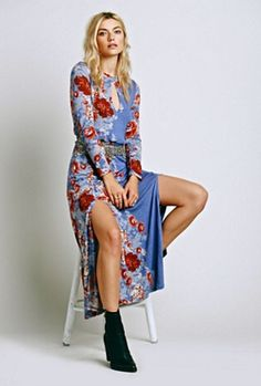 NWOT $148 Free People blue red rose floral Pieces of Heaven drapy Maxi Dress M #FreePeople #MaxiDress #versatile