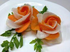 How To Design Carrot Flower - Carrot Art Into Rose Tutorial - YouTube