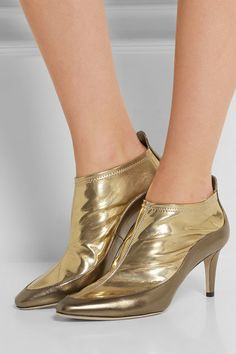 Heel measures approximately 65mm/ 2.5 inches Gold PVC, bronze textured-leather Pull on Designer color: Light Honey/ Gold Made in Italy