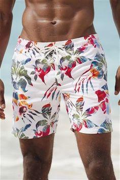 White Photo Floral Swim Short