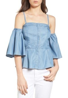 off the shoulder denim bustier top by Chelsea28. This flirtatious off-the-shoulder top ups the ante on your favorite summer look with playful flared sleeves and flatt...