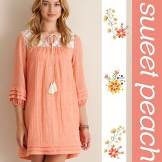 MELANGE GAUZE BABY DOLL DRESS Beautiful solid peach, melange gauze baby doll dress featuring laced yoke with tassel tie up strings. Ruffle detail on hem and sleeves. Non sheer, fully lined. Woven. Lightweight. Measurements upon request. PLEASE DO NOT BUY THIS LISTING, I will personalize one for you. tla2 Dresses