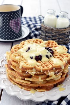 Gofry proste Waffles, Pancakes, Food And Drink, Snacks, Chocolate, Baking, Breakfast, Recipes, Study