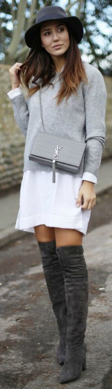Tamara Kalinic + cute and preppy style + marl grey thigh high boots + white shirt dress + thin grey sweater + fedora + casual vibes   Shirt/Boots: Asos, Sweater: 360 Sweater, Hat: Maison Michel, Bag: YSL.