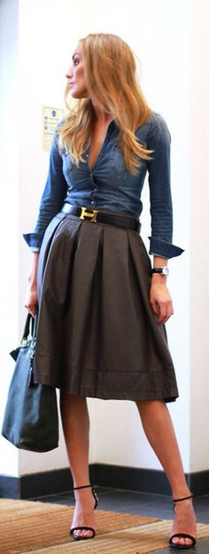 midi skirt, denim top