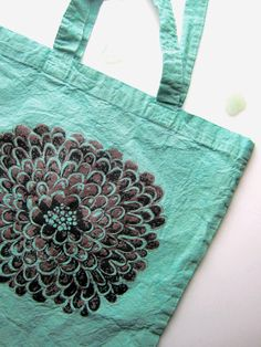 Items similar to Pastel Boho Floral Tote Bag - Hand Dyed Mint Green/ Turquoise, Screen Printed Tote, Original Drawing Art Bag - Floral Print Girls Tote Bag on Etsy Green Turquoise, Mint Green, Floral Tote Bags, Purple Highlights, Art Bag, Hippie Chic, Flower Designs, Screen Printing, Retail Supplies