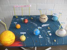 Risultati immagini per trabajos de primaria del sistema solar Solar System Projects For Kids, Solar System Crafts, Space Projects, Solar Projects, Solar System Model Project, Science Fair, Science For Kids, Science Activities, Science Projects