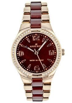 Price:$64.25 #watches Anne Klein 10-9118BMRG, Stainless steel case, Ceramic bracelet, Brown Mother of pearl dial, Quartz movement, Scratch-resistant mineral, Water resistant up to 3 ATM - 30 meters - 100 Feet Mineral Water, Anne Klein, Stainless Steel Case, Rolex Watches, Quartz, Ceramics, Pearls, Brown, Bracelets