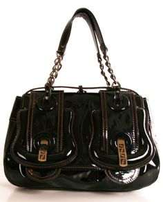 patent leather buckle handbag