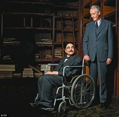 David Suchet with Hugh Fraser, on the set of Curtain: Poirot's Last Case.