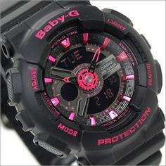 BUY Casio Baby-G Analog Digital 100M Ladies Black Pink Sport Watch BA-111 66912a50b4