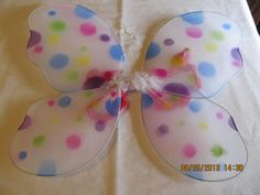 """Polka Butterfly Wings, Elastic Arm Straps Glitter & Feathers 17 x 12"""" Wings Tutu #Unbranded"""