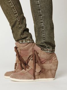 Suede and canvas high-top sneaker