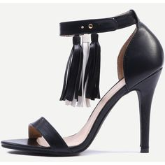 Black Ankle Strap Open Toe Heels ($33) ❤ liked on Polyvore featuring shoes, pumps, open toe shoes, open toe pumps and open-toe pumps