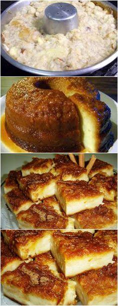 Ingredientes 4 ovos 3 pães franceses picados 1 colher de sopa de manteiga ½ xícara de chá de açúcar 1 lata de leite condensado 2 medidas da lata de leite (lata condensado) Modo de Preparo: No liquidificador, bata os ovos, os pães, a manteiga, o açúcar, o leite condensado e o leite, até obter uma mistura homogênea. Despeje na forma caramelizada Leve para cozinhar em banho-maria, em forno preaquecido a 220ºC por cerca de 1 hora e meia. Retire, espere esfriar, e DEPOIS leve a geladeira por 4hrs Sweet Recipes, Cake Recipes, Delicious Desserts, Yummy Food, Lime Cake, Cake Boss, Pie Dessert, Cake Cookies, Food To Make