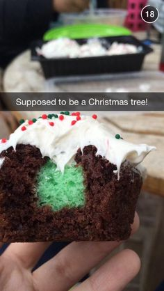A Christmas tree baked into a cupcake is actually baked into a #pinterestfail