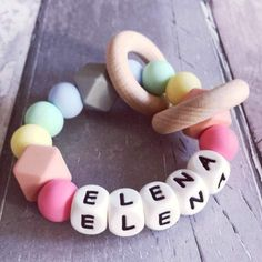Hopes, Dreams & Jellybeans | Personalised Pastel Rainbow Silicone Teething Ring New Baby Gifts, Gifts For Kids, Gifts For Her, Handmade Shop, Handmade Gifts, Handmade Baby, Unique Gifts, Fabric Gifts, Baby Toys
