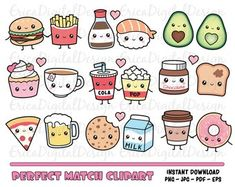 Perfect Match Kawaii Clipart Set Cute Food Clip Art Friendship Best Friend Love Valentine Funny Vector Graphics Sweet Planner Printables image ideas from Food Ideas Food Doodles, Kawaii Doodles, Cute Doodles, Flower Doodles, Cute Food Drawings, Cute Kawaii Drawings, Doodle Drawings, Food Drawing Easy, Cute Doodle Art