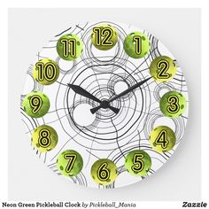 Neon Green Pickleball Clock